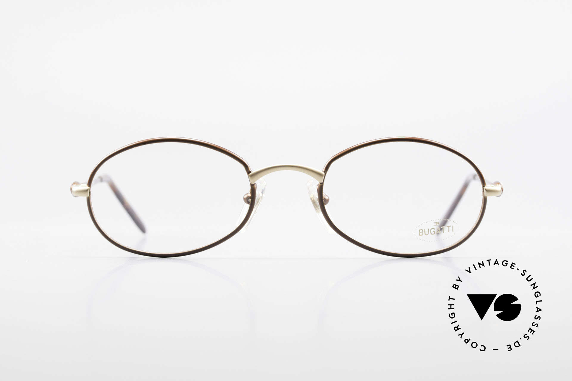 Bugatti 22369 Rare Oval 90's Vintage Frame, interesting frame finish in gold and brown-metallic, Made for Men and Women