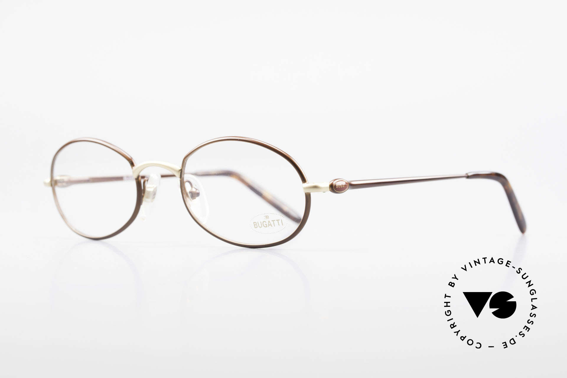 Bugatti 22369 Rare Oval 90's Vintage Frame, 1st class comfort due to spring temples (TOP quality), Made for Men and Women