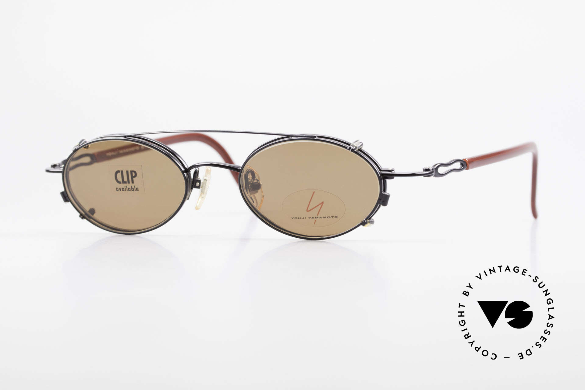 Yohji Yamamoto 51-8201 Oval Vintage Glasses Clip On, vintage eyeglasses by Yohji Yamamoto with Clip-On, Made for Men and Women