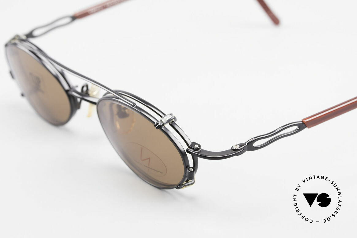Yohji Yamamoto 51-8201 Oval Vintage Glasses Clip On, demo lenses can be replaced optionally, + SUN CLIP, Made for Men and Women