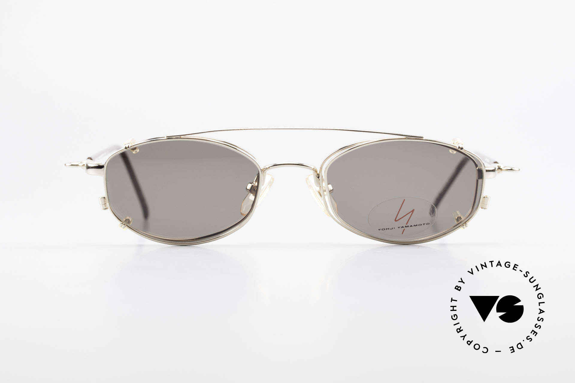 Yohji Yamamoto 51-7211 Gold Plated Frame With Clip On, outstanding quality from the 1990's, made in JAPAN, Made for Men and Women