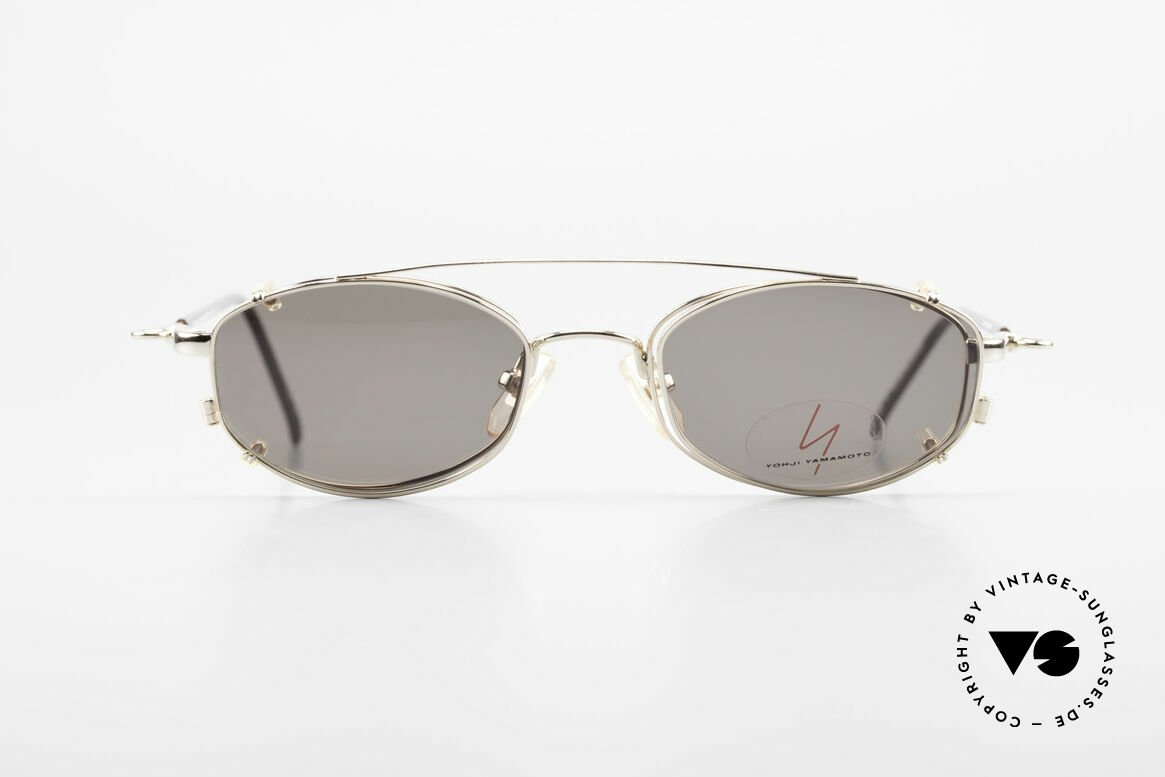 Yohji Yamamoto 51-7211 Gold Plated Frame With Clip On, vintage eyeglasses by Yohji Yamamoto with Clip-On, Made for Men and Women
