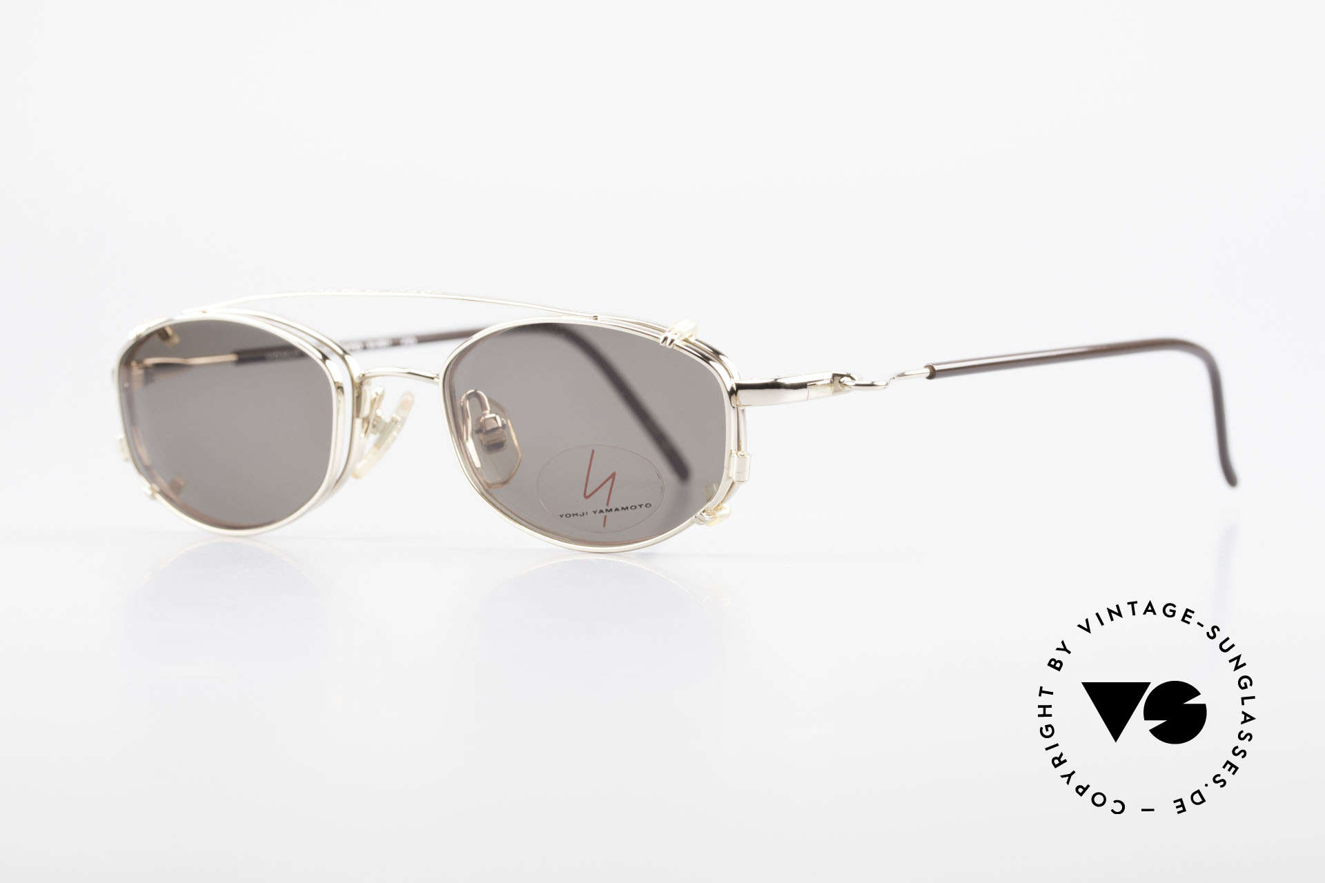 Yohji Yamamoto 51-7211 Gold Plated Frame With Clip On, costly GOLD-PLATED metal frame: luxury eyeglasses, Made for Men and Women