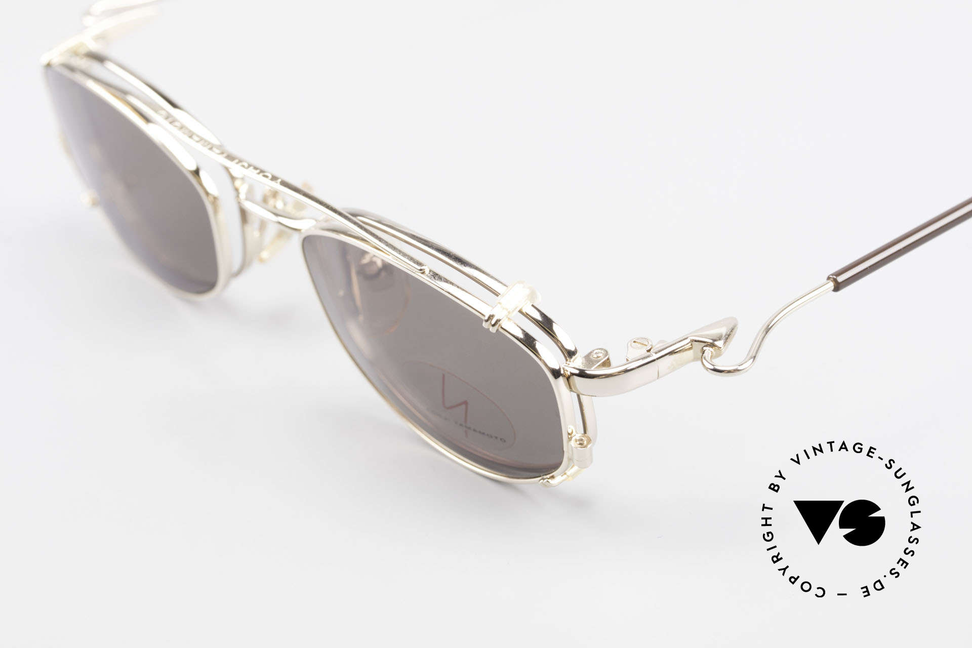 Yohji Yamamoto 51-7211 Gold Plated Frame With Clip On, demo lenses can be replaced optionally, + SUN CLIP, Made for Men and Women