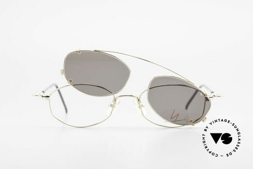 Yohji Yamamoto 51-7211 Gold Plated Frame With Clip On, NO retro specs, but a 20 years old Yamamoto original, Made for Men and Women