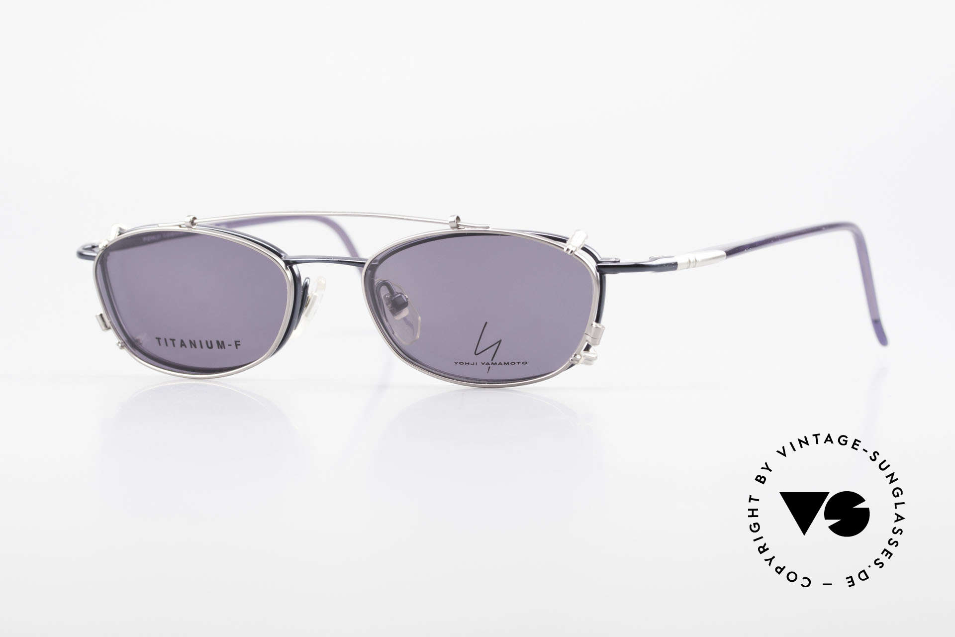 Yohji Yamamoto 51-0013 Clip On Titanium Frame Blue, vintage eyeglasses by Yohji Yamamoto with Clip-On, Made for Men and Women