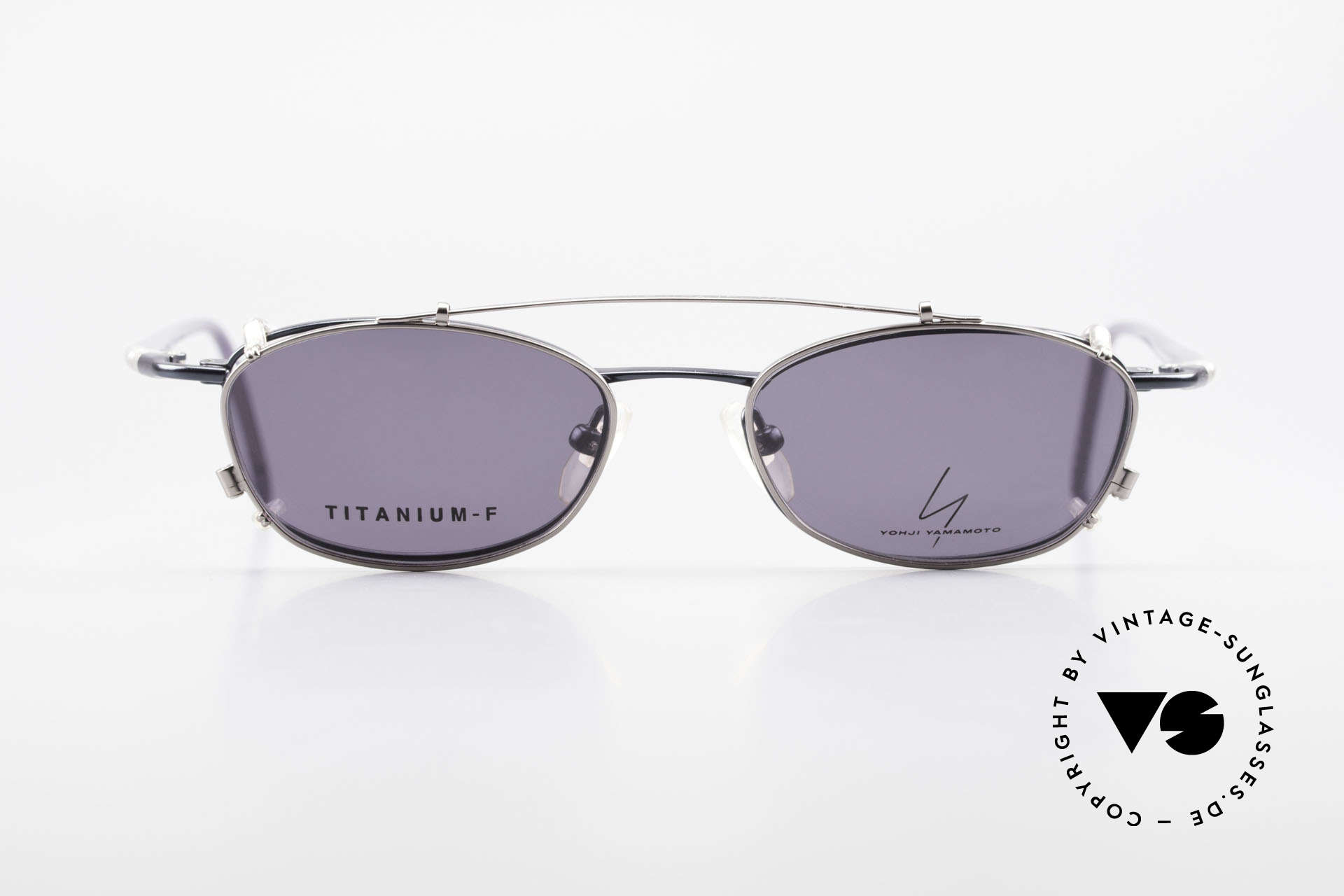 Yohji Yamamoto 51-0013 Clip On Titanium Frame Blue, outstanding quality from the 1990's, made in JAPAN, Made for Men and Women