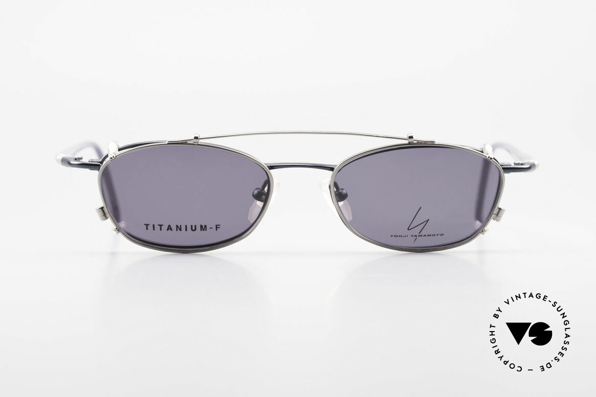 Yohji Yamamoto 51-0013 Clip On Titanium Frame Blue, vintage eyeglasses by Yohji Yamamoto with Clip-On, Made for Men and Women