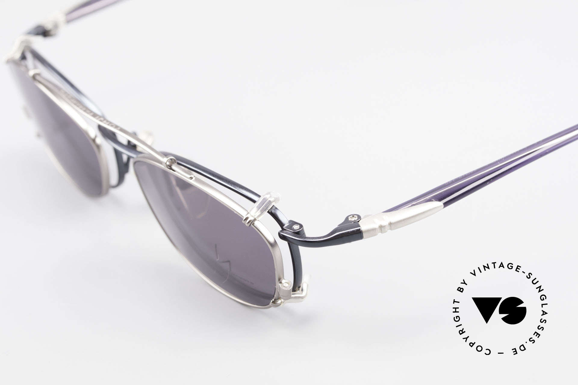 Yohji Yamamoto 51-0013 Clip On Titanium Frame Blue, original YY demo lenses can be replaced optionally, Made for Men and Women