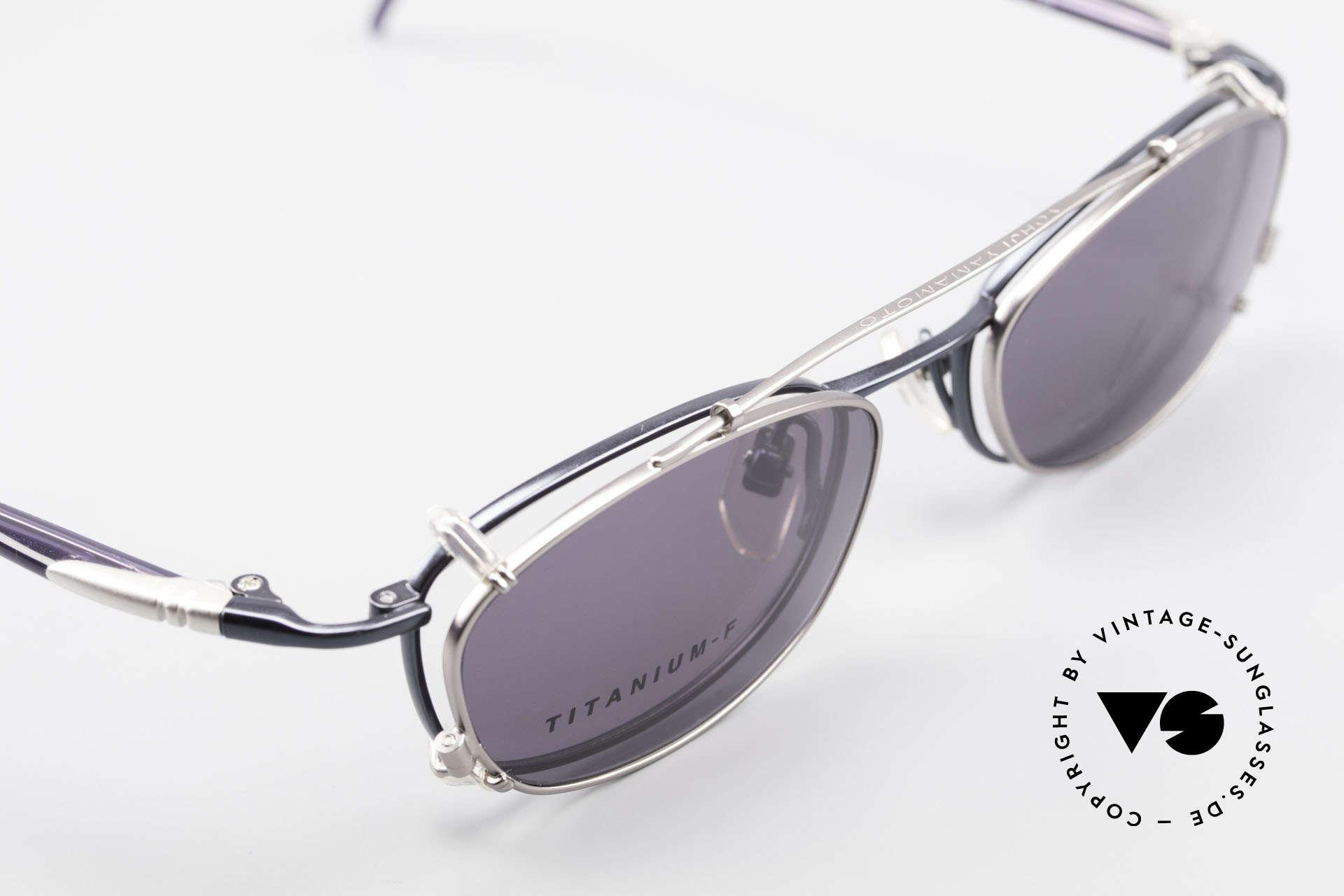 Yohji Yamamoto 51-0013 Clip On Titanium Frame Blue, never worn: like all our quality designer (sun)glasses, Made for Men and Women