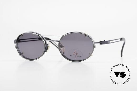Yohji Yamamoto 51-6106 Oval Clip On Frame Blue Metal Details