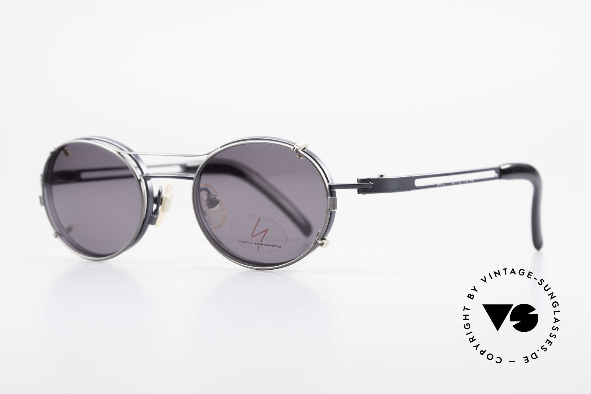 Yohji Yamamoto 51-6106 Oval Clip On Frame Blue Metal, frame = dark-blue metallic; Clip-On = titanium/gray, Made for Men and Women
