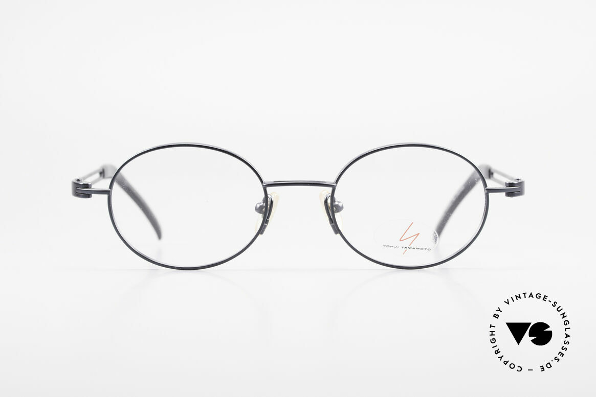 Yohji Yamamoto 51-6106 Oval Clip On Frame Blue Metal, Size: large, Made for Men and Women