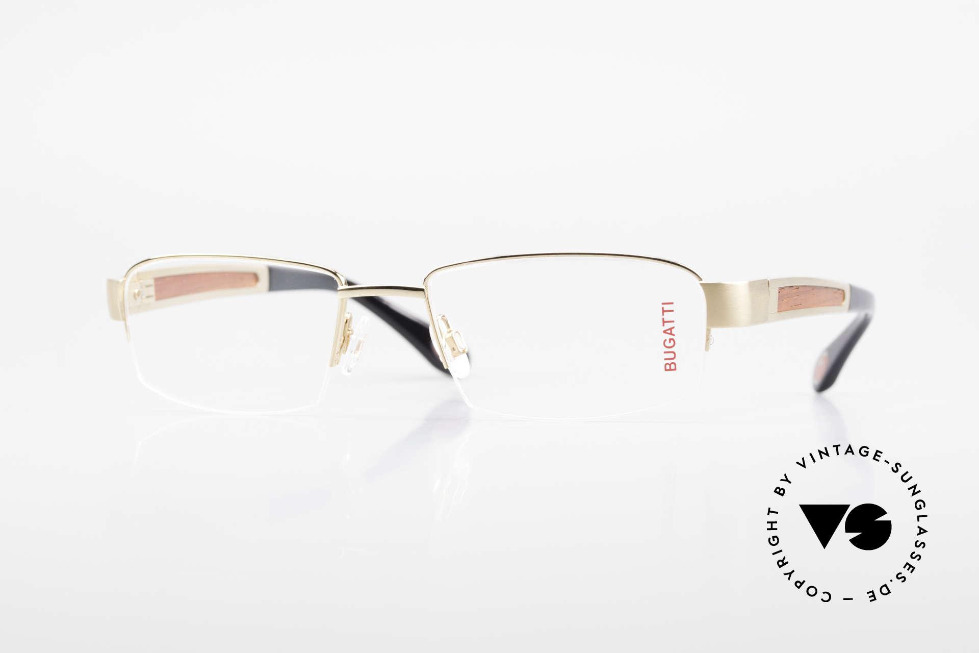 Bugatti 521 Precious Padouk Wood Gold, BUGATTI luxury eyeglasses of incredible top-quality, Made for Men