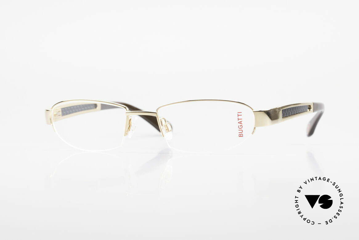 Bugatti 523 Carbon Titanium Gold Frame, BUGATTI luxury eyeglasses of incredible top-quality, Made for Men