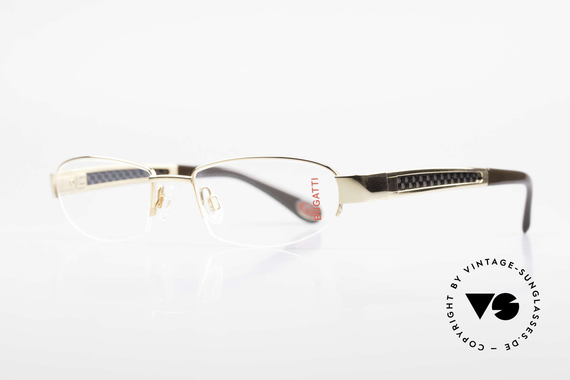 Bugatti 523 Carbon Titanium Gold Frame, CARBON temple inlays (lightweight and very sturdy), Made for Men