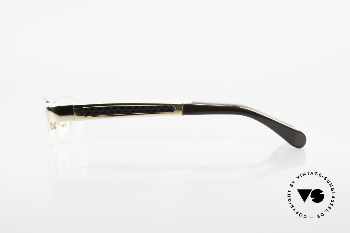Bugatti 523 Carbon Titanium Gold Frame, flexible spring hinges for a 1st class wearing comfort, Made for Men