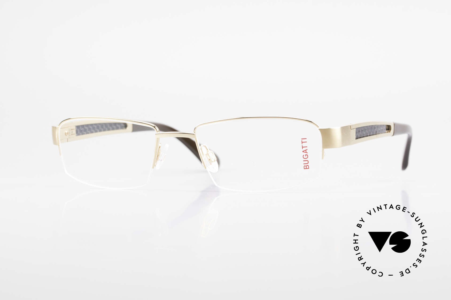 Bugatti 524 Carbon Titanium Gold Frame, BUGATTI luxury eyeglasses of incredible top-quality, Made for Men