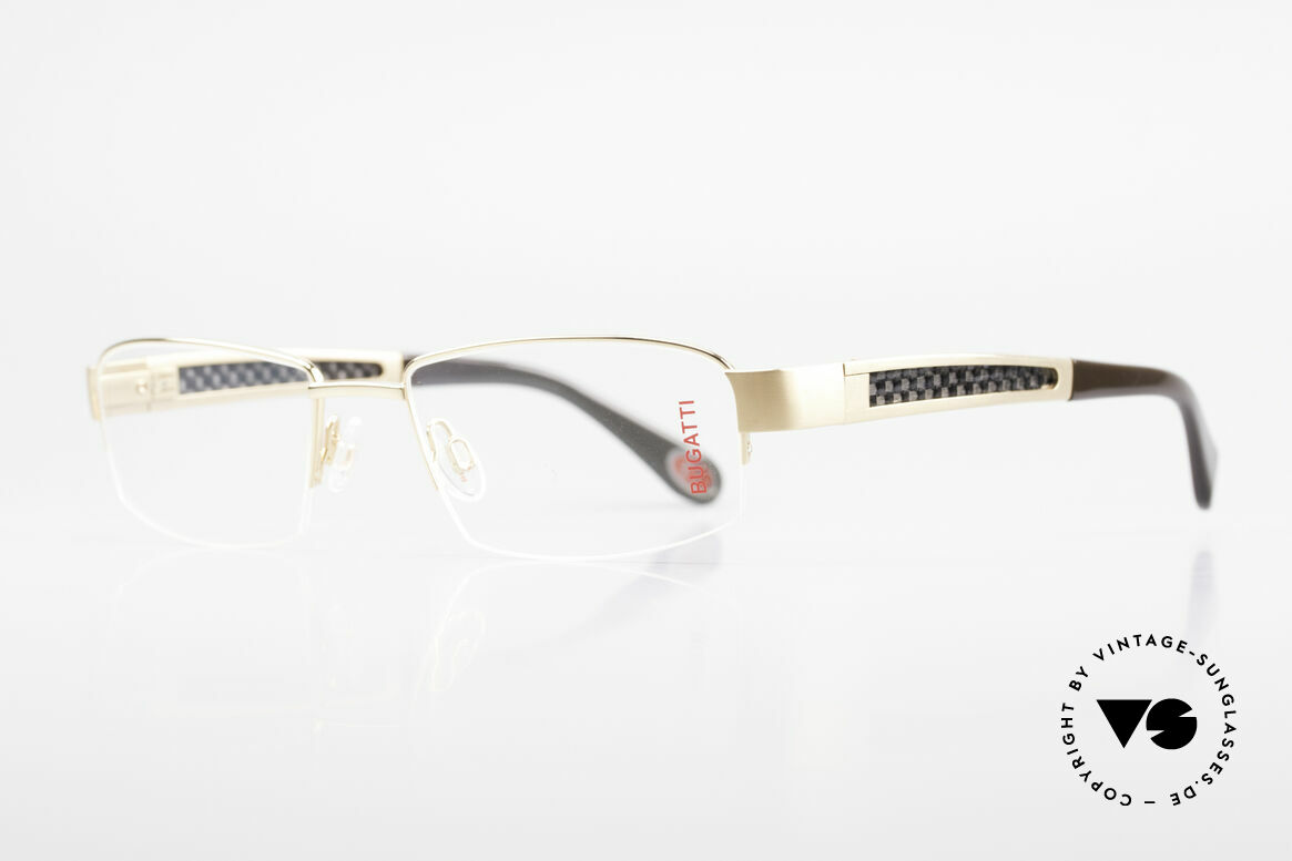 Bugatti 524 Carbon Titanium Gold Frame, CARBON temple inlays (lightweight and very sturdy), Made for Men