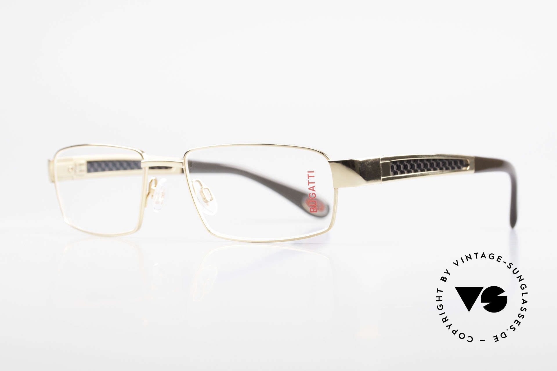 Bugatti 525 Titanium Frame Carbon Gold, CARBON temple inlays (lightweight and very sturdy), Made for Men