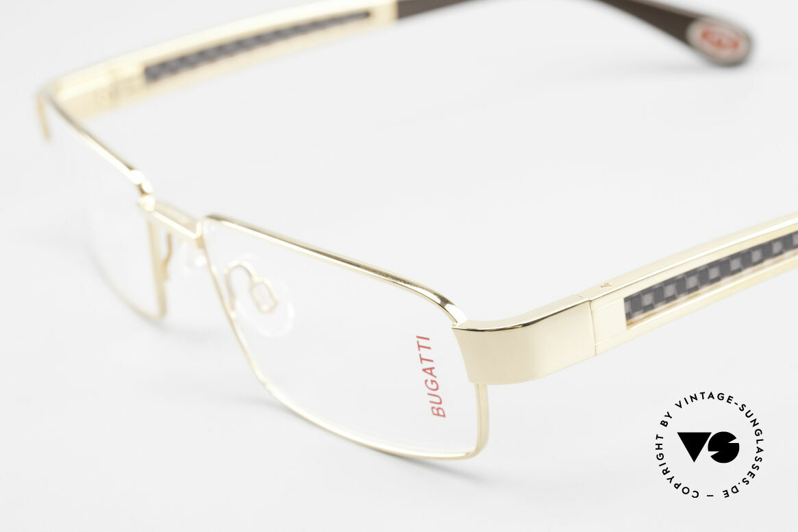 Bugatti 525 Titanium Frame Carbon Gold, flexible spring hinges for a 1st class wearing comfort, Made for Men