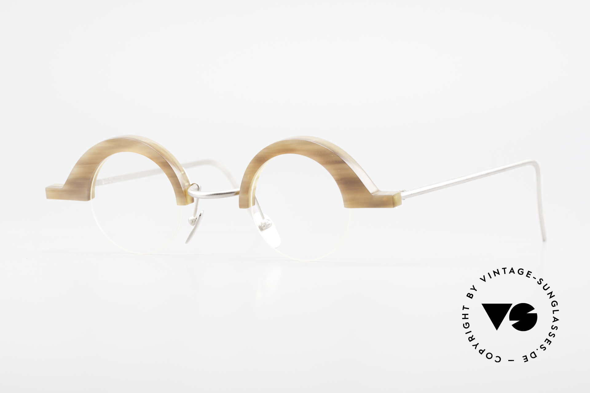 B. Angeletti Baal Redesign Genuine Horn Glasses 1994, precious 1990's eyeglass-frame by Barbara ANGELETTI, Made for Men and Women