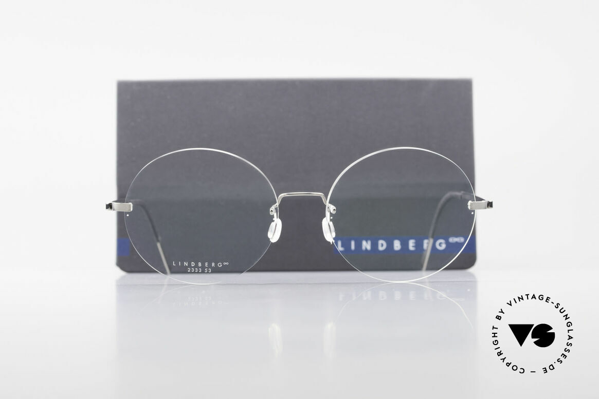 Lindberg 2333 Spirit Titan Round Rimless Titanium Frame, resilient & flexible frame (lens shape can be modified), Made for Men and Women