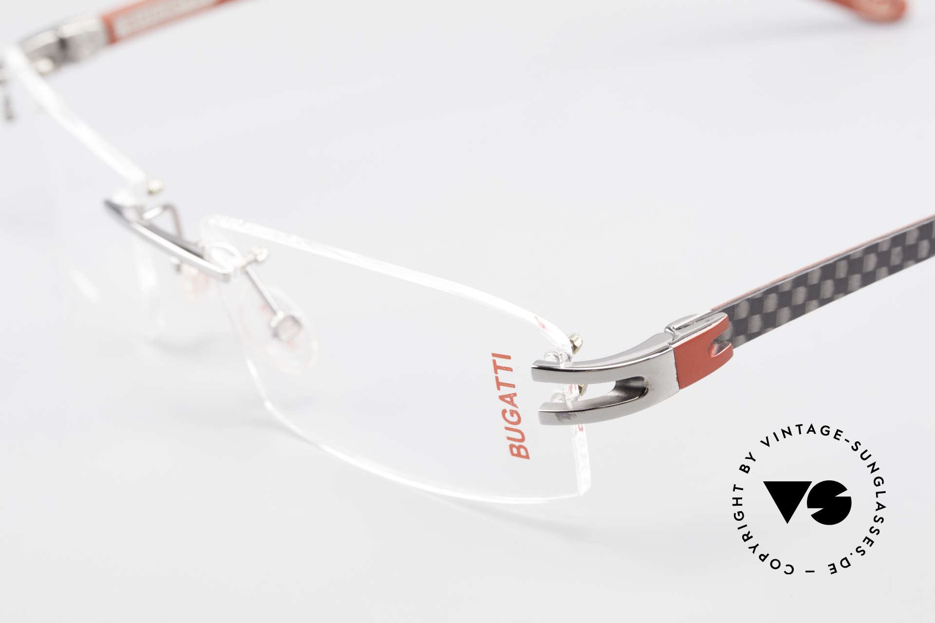 Bugatti 464 Rimless Eyeglasses Ruthenium, unworn (like all our rare vintage Bugatti eyeglasses), Made for Men