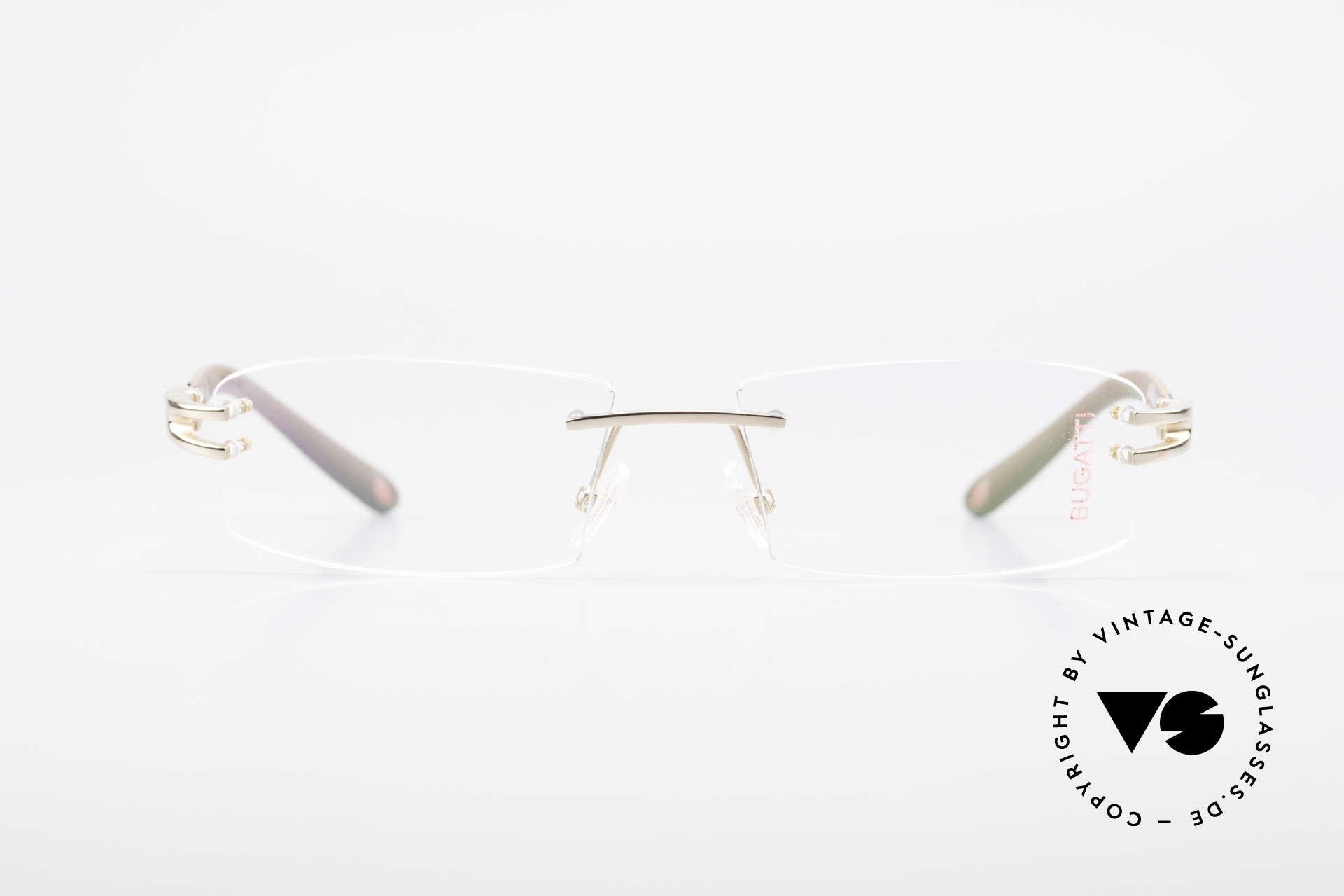 Bugatti 464 Rimless Glasses Carbon Gold, sporty frame and lens design ... striking masculine, Made for Men