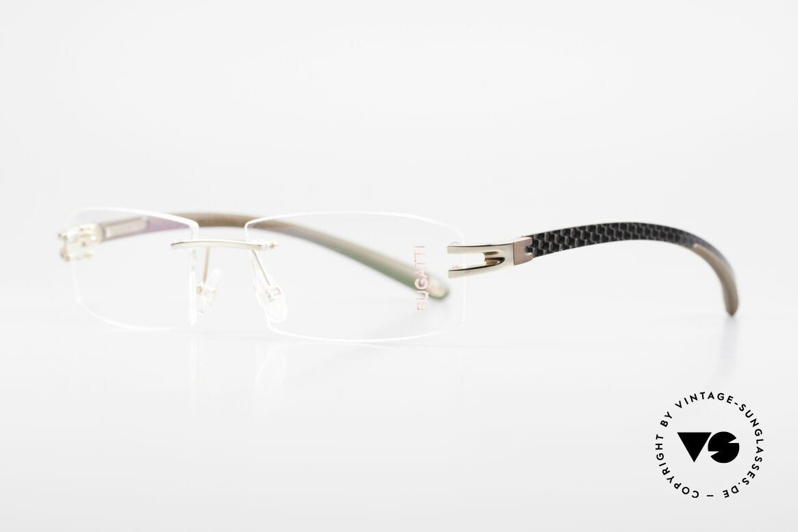 Bugatti 464 Rimless Glasses Carbon Gold, a noble ORIGINAL by BUGATTI from the late 1990's, Made for Men