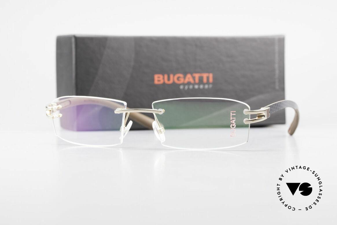 Bugatti 464 Rimless Glasses Carbon Gold, Size: medium, Made for Men