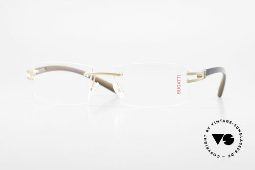 Bugatti 465 Rimless Glasses Carbon Gold Details