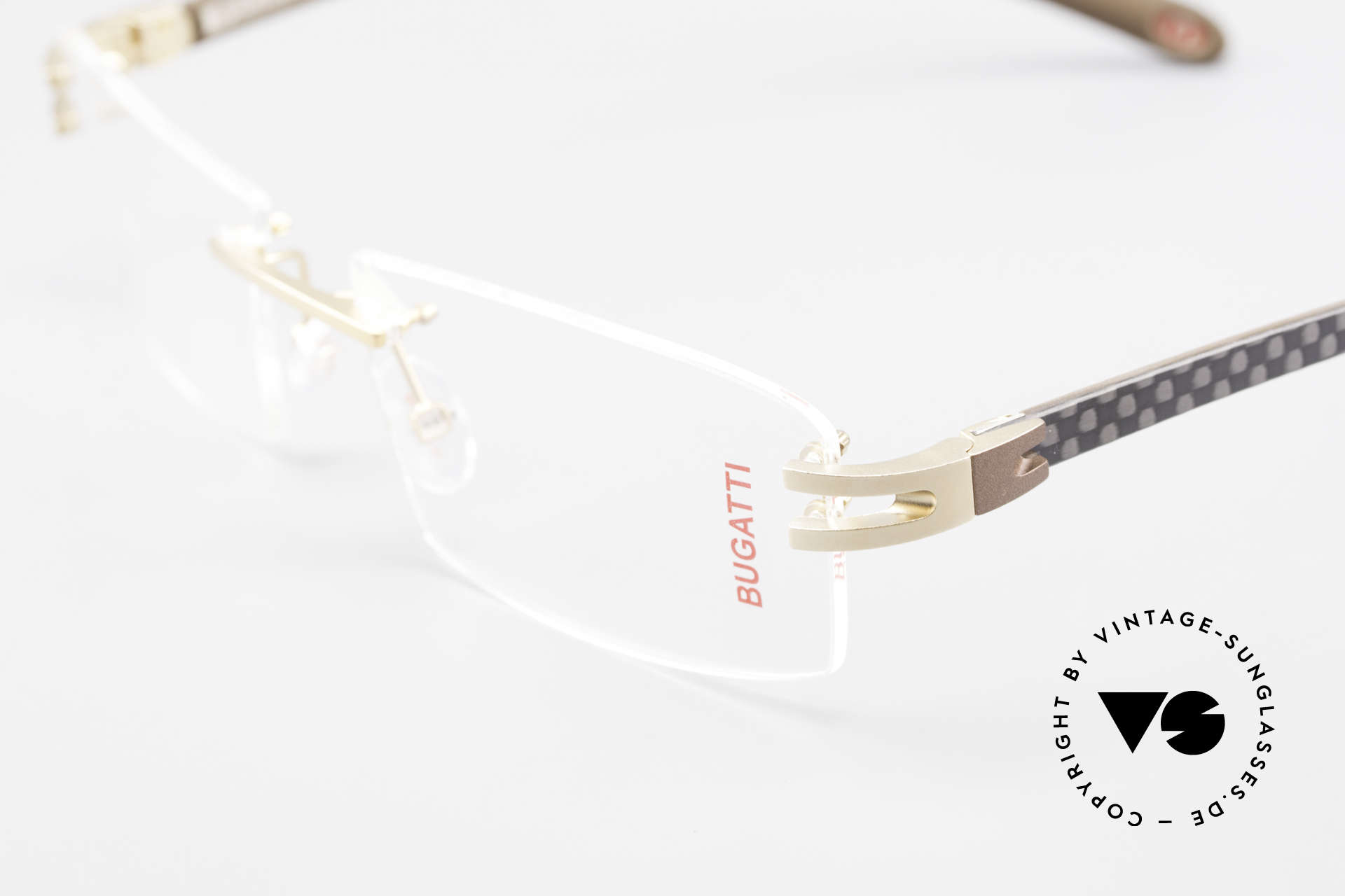 Bugatti 465 Rimless Glasses Carbon Gold, unworn (like all our rare vintage Bugatti eyeglasses), Made for Men