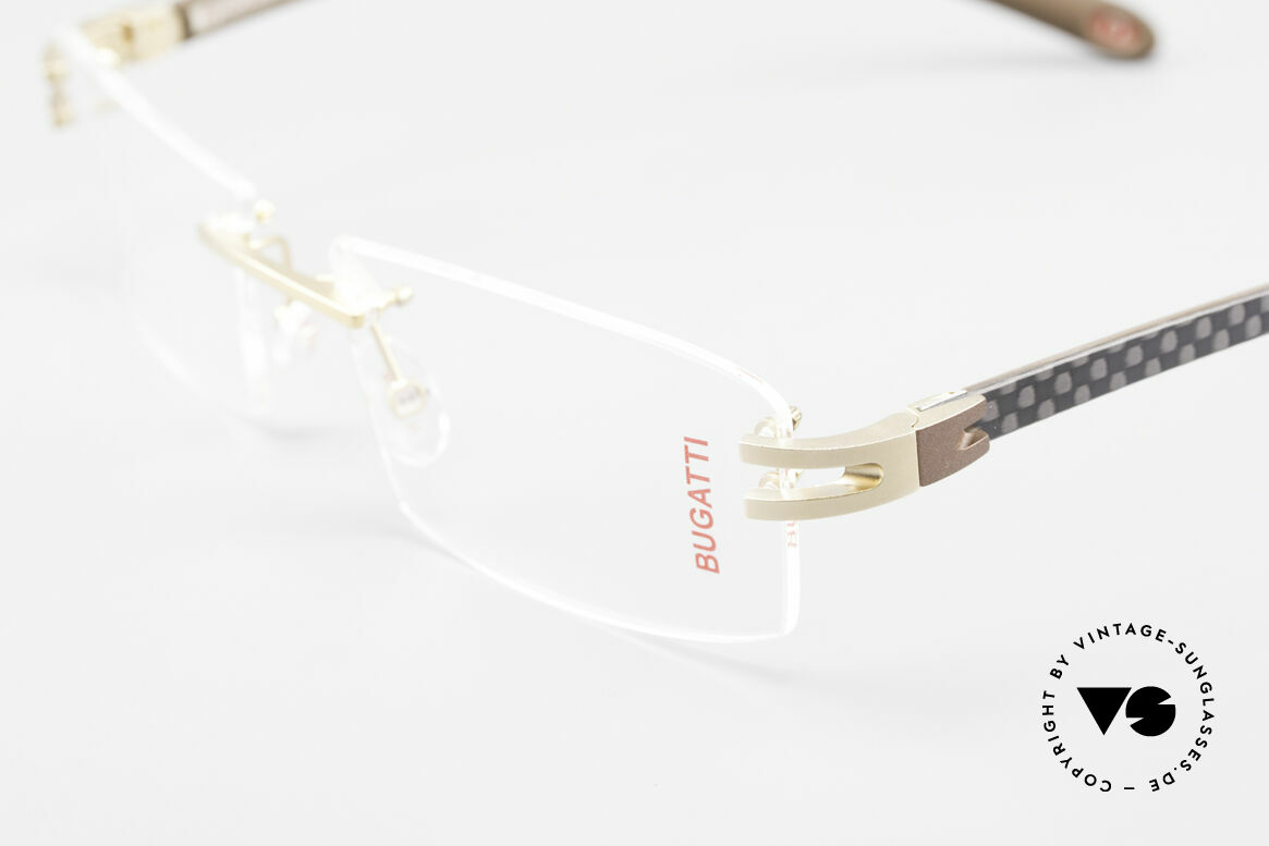 Bugatti 465 Rimless Glasses Carbon Gold