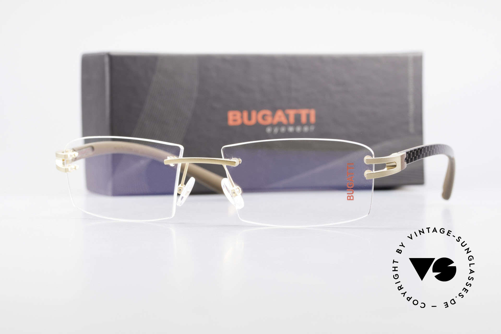 Bugatti 465 Rimless Glasses Carbon Gold, Size: large, Made for Men