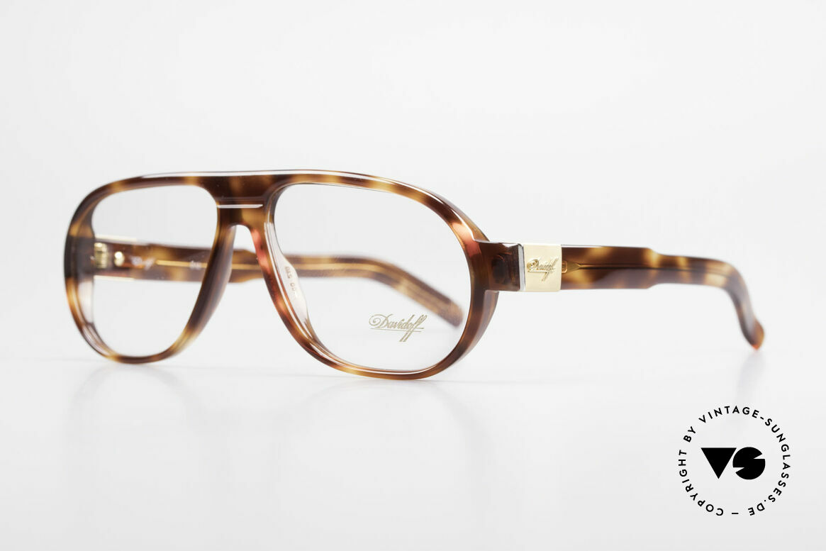 Davidoff 100 90's Men's Vintage Frame, with gold-plated hinges and appliqué on the temples, Made for Men