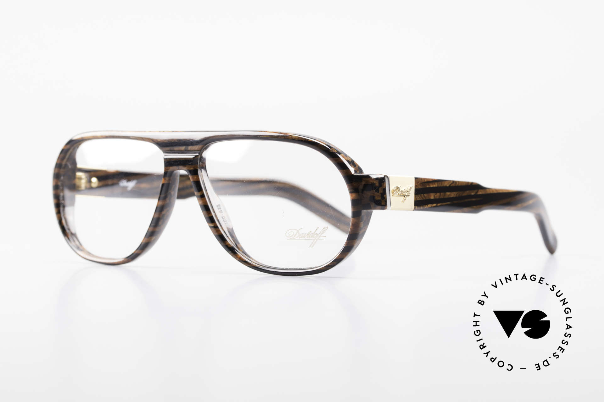 Davidoff 100 90's Men's Vintage Glasses, with gold-plated hinges and appliqué on the temples, Made for Men