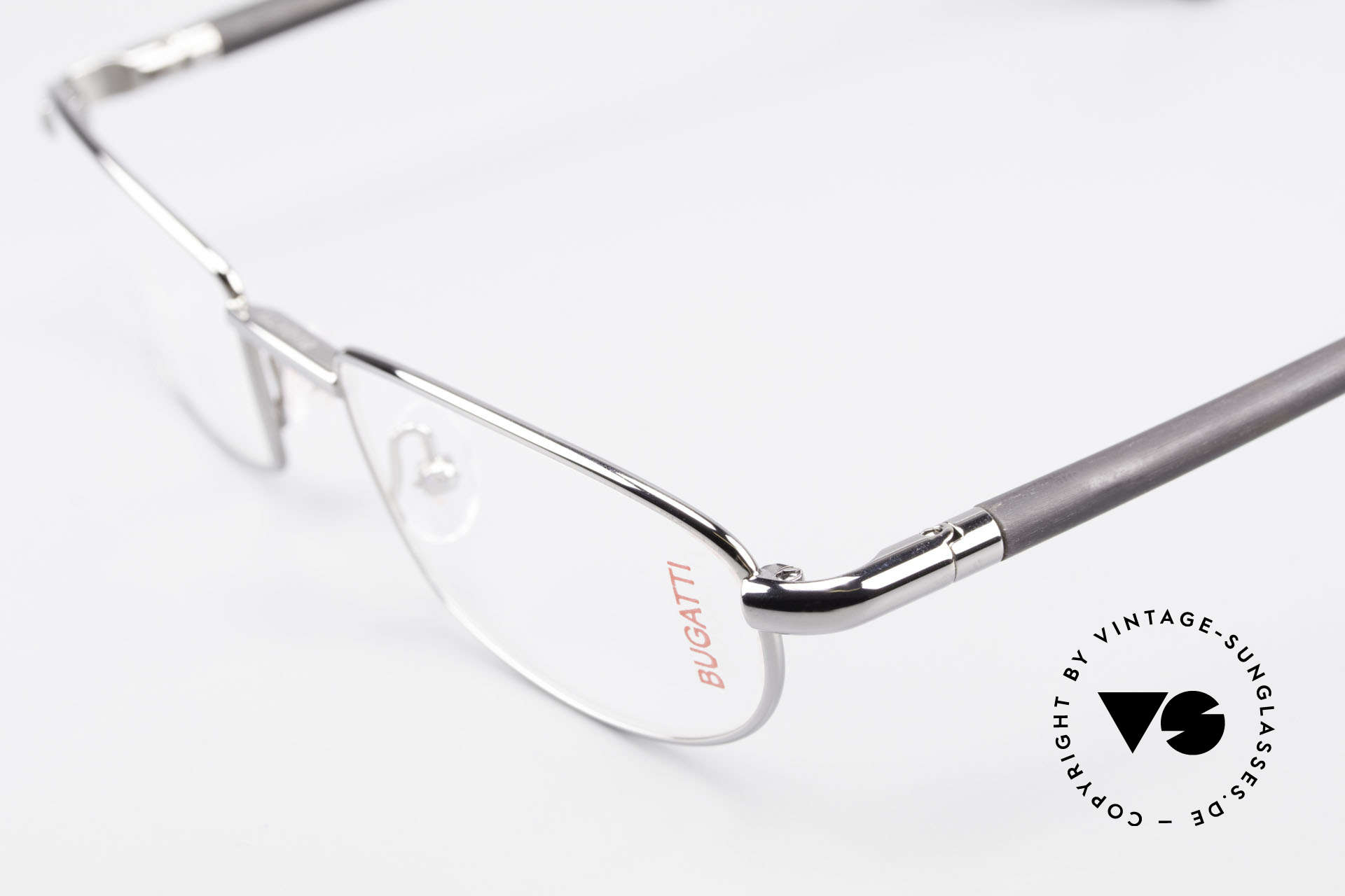 Bugatti 537 Genuine Horn Frame Ruthenium, flexible spring hinges for a 1st class wearing comfort, Made for Men