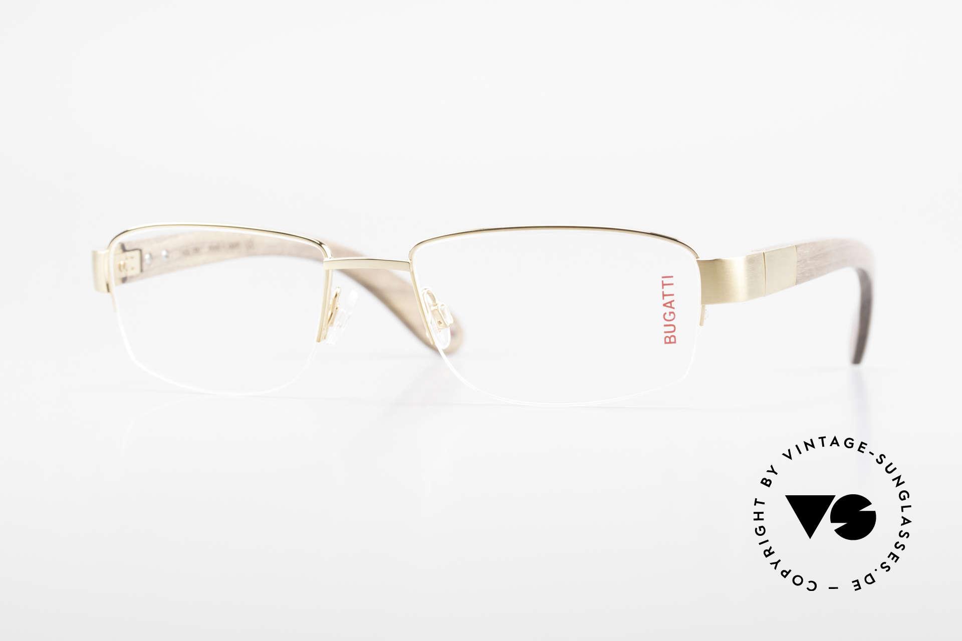 Bugatti 529 Wood Titanium Gold Plated XL, luxury eyeglasses by BUGATTI, TOP-NOTCH quality, Made for Men