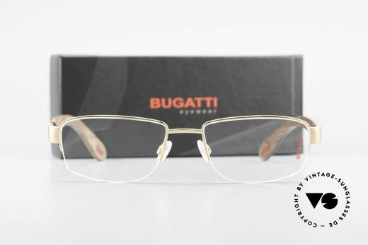 Bugatti 529 Wood Titanium Gold Plated XL, Size: large, Made for Men