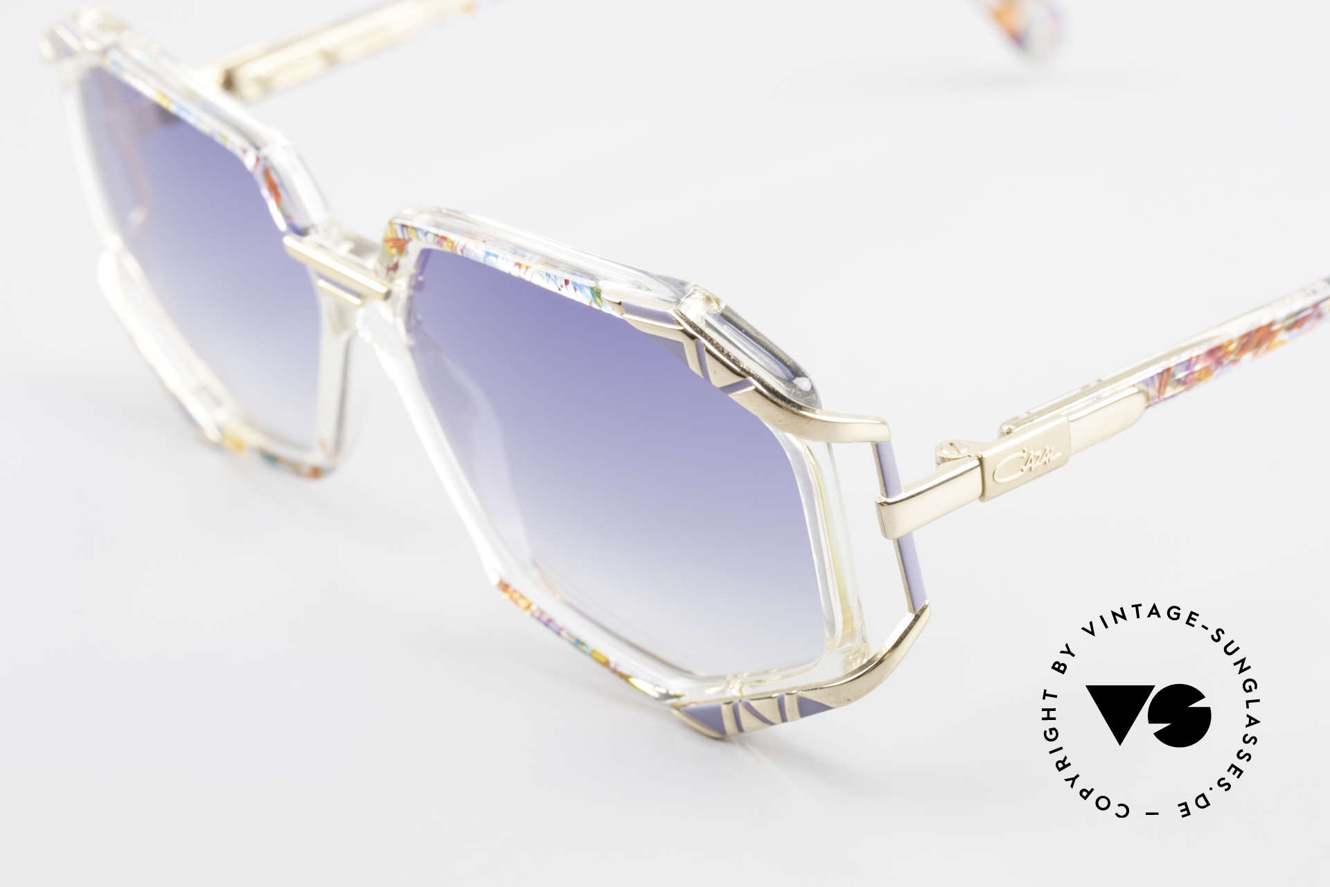 Cazal 355 Extraordinary Sunglasses 90's, color name: multicolor shaded / crystal / gray / gold, Made for Women