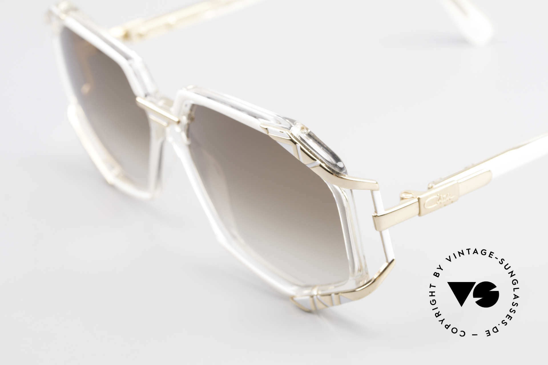 Cazal 355 Spectacular 90s Vintage Cazal, Cazal catalog color description: white / crystal / gold, Made for Women
