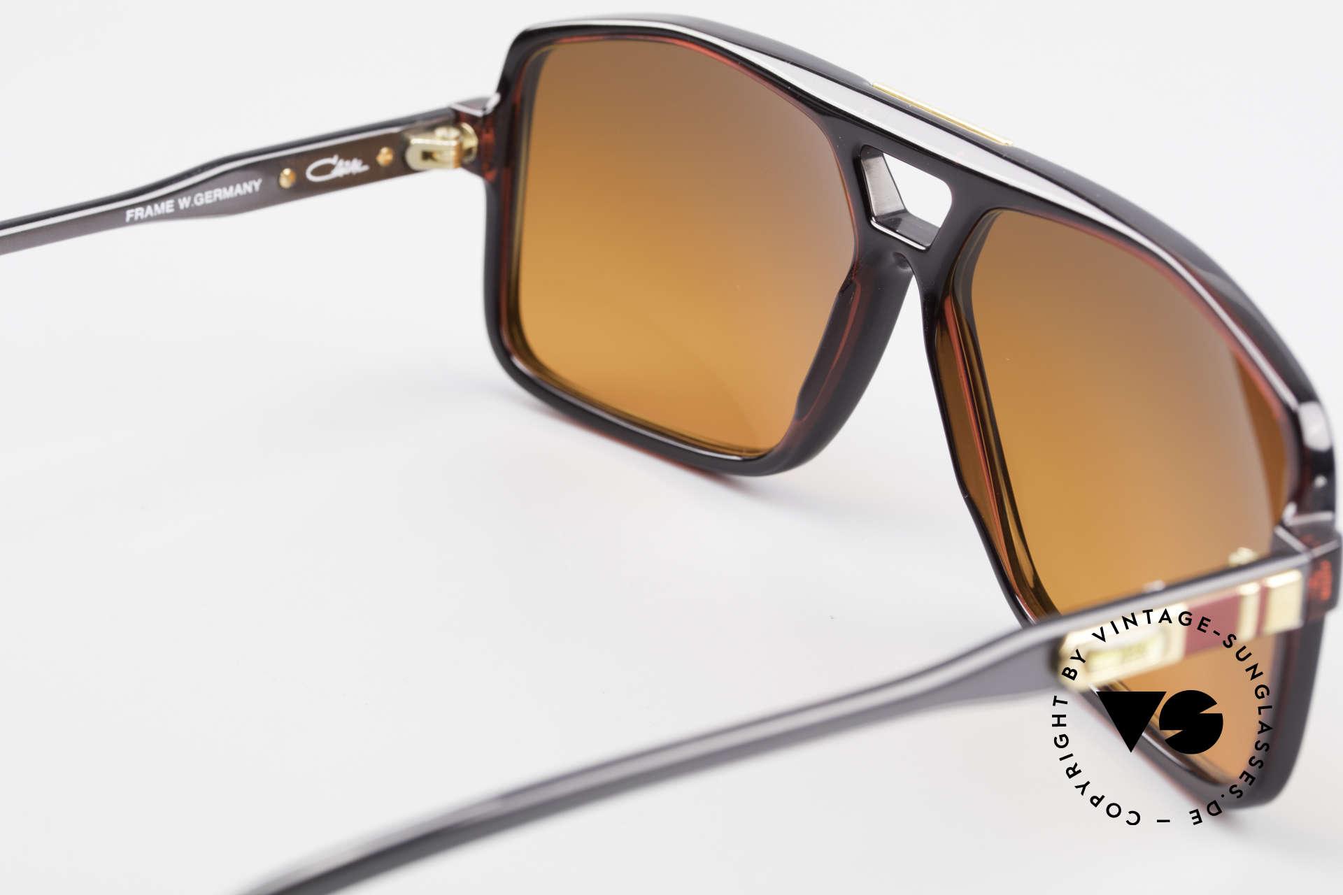 Cazal 637 80's Hip Hop Shades Sunset, fancy customized sun lenses in sunset red-orange, Made for Men