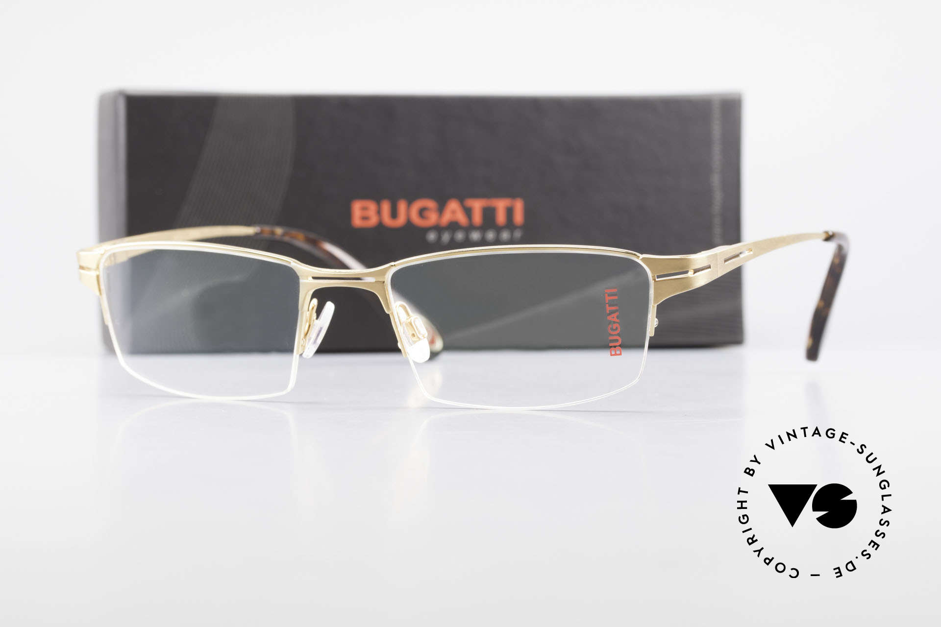 Bugatti 456 Nylor Titan Frame Gold-Plated, Size: large, Made for Men