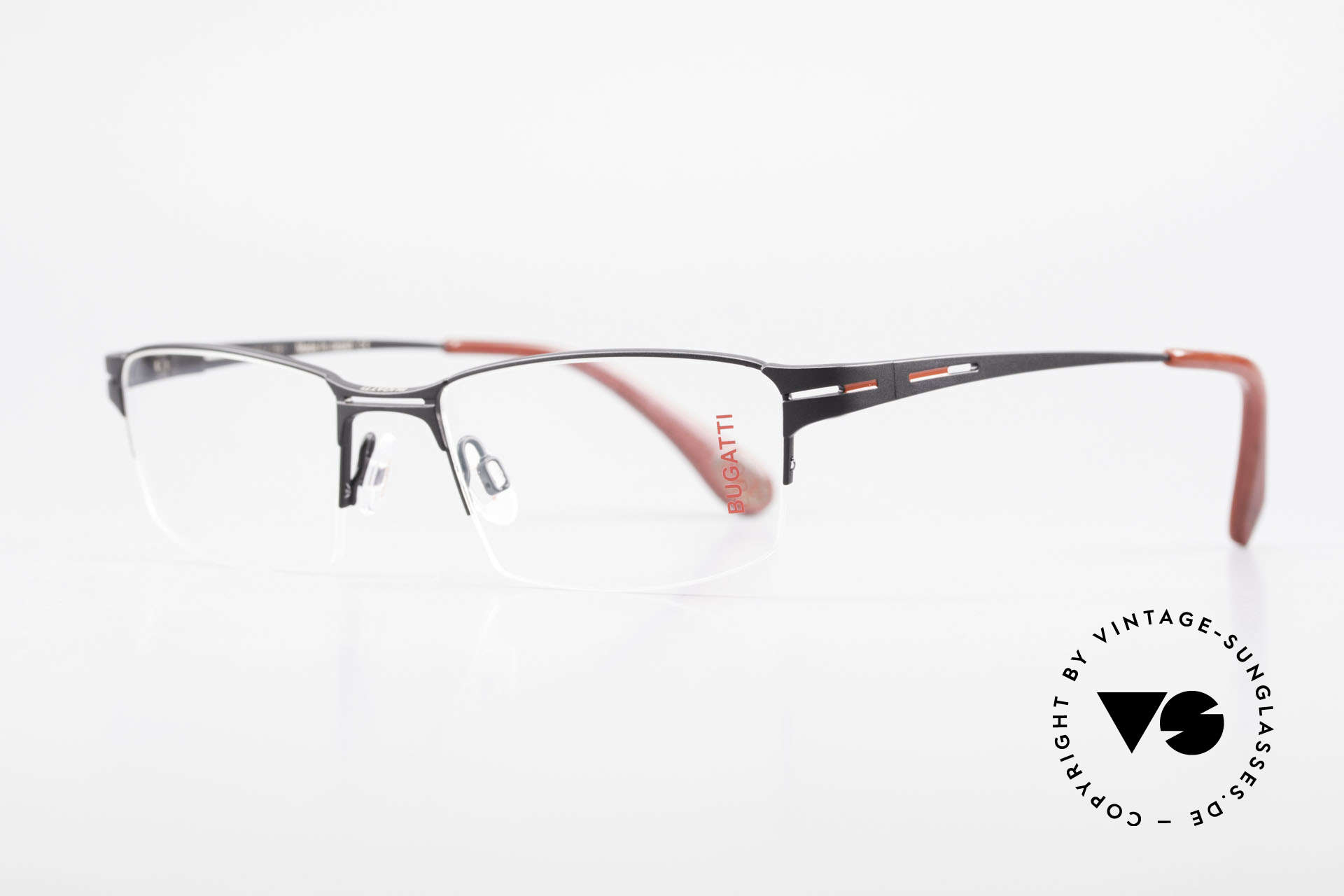 Bugatti 456 Titanium Eyeglass-Frame Nylor, semi rimless (Nylor thread) model weighs 19g only, Made for Men