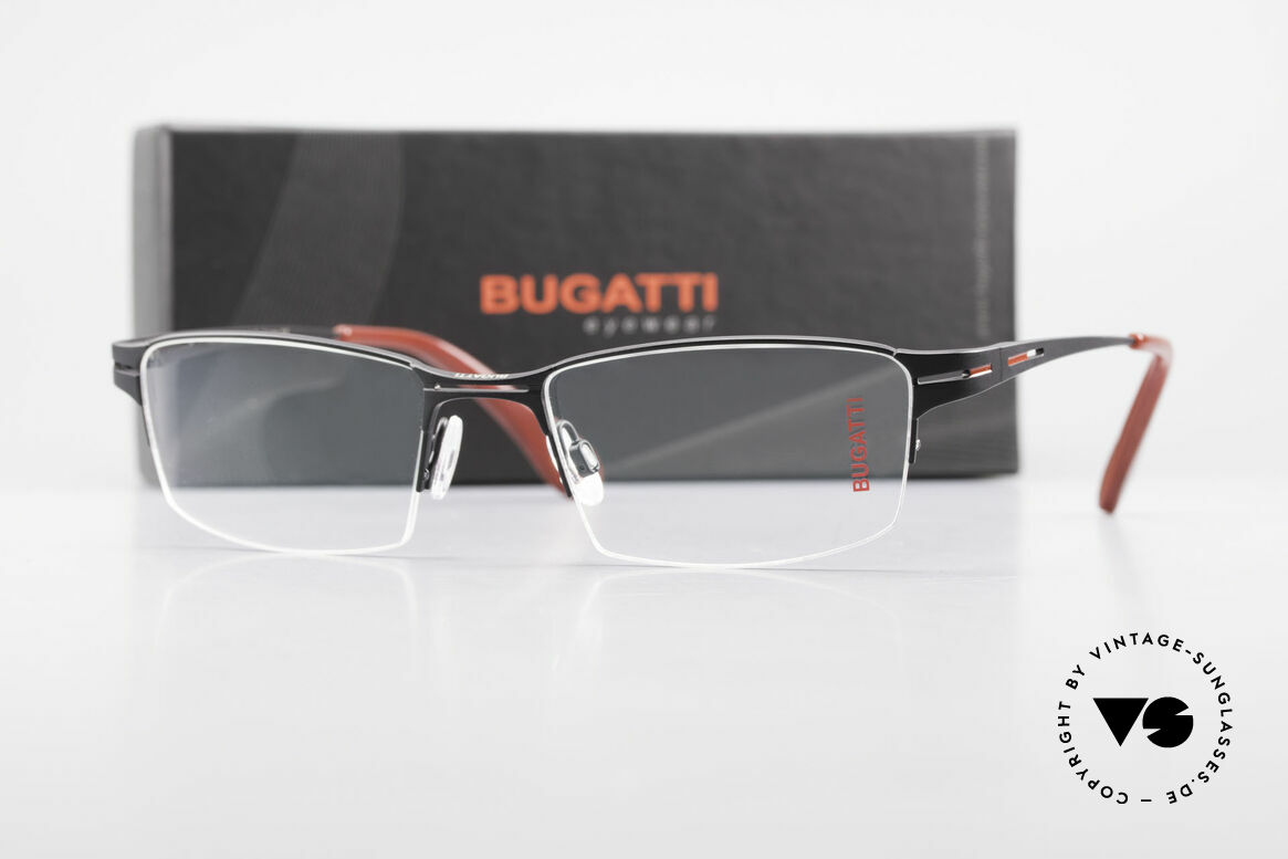 Bugatti 456 Titanium Eyeglass-Frame Nylor, Size: large, Made for Men