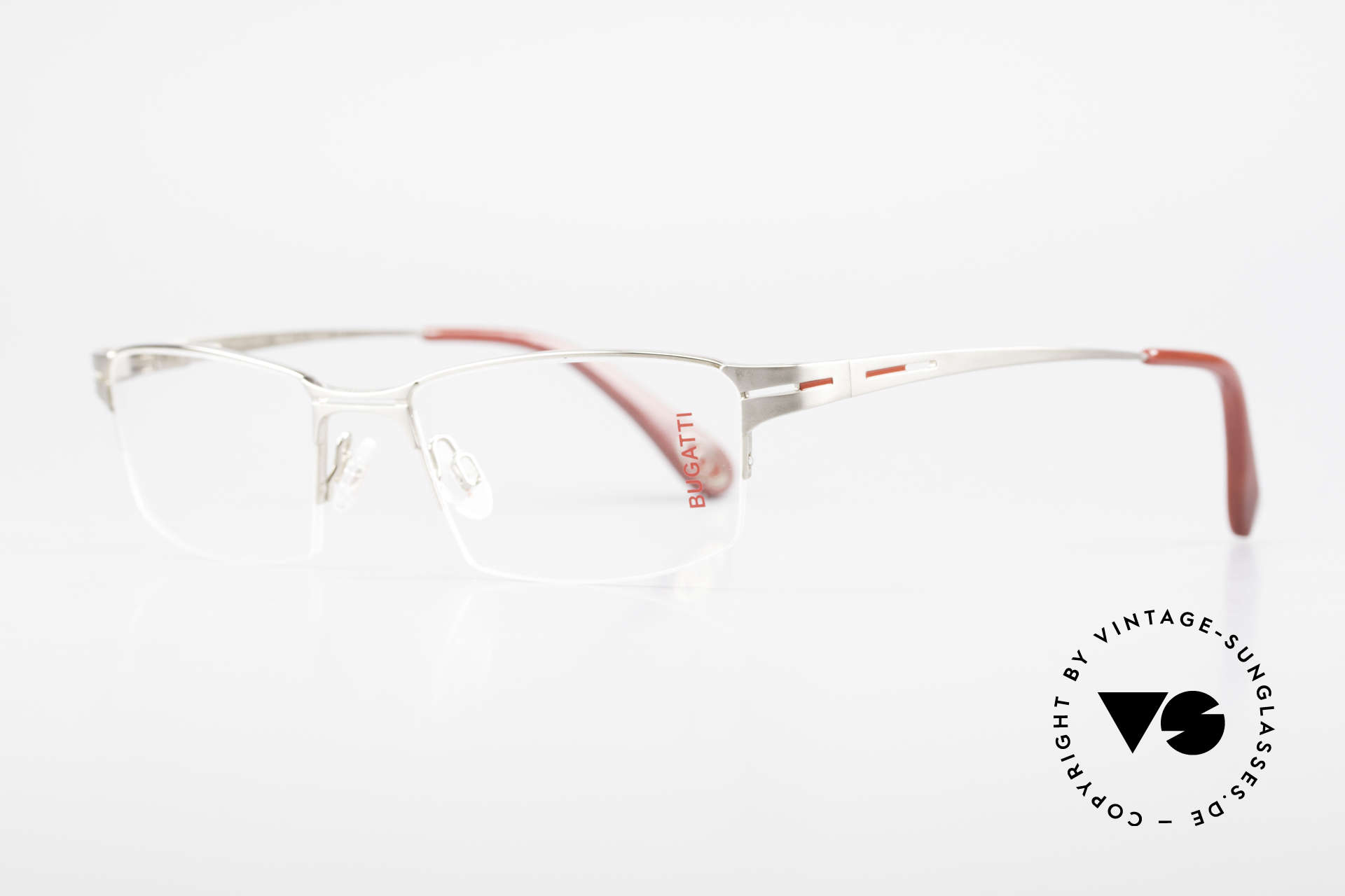 Bugatti 456 Nylor Titan Frame Palladium, semi rimless (Nylor thread) model weighs 19g only, Made for Men