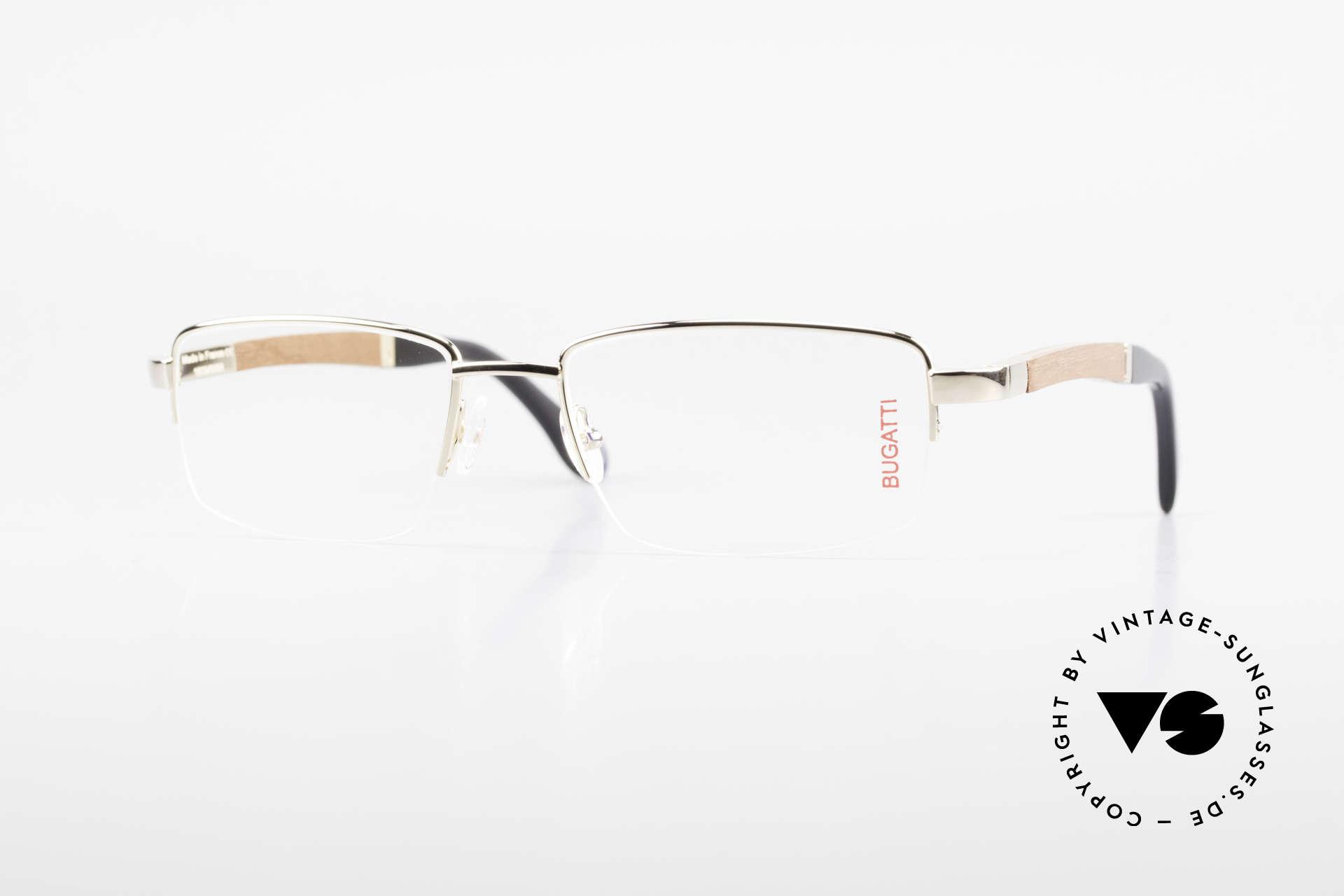 Bugatti 547 Precious Padouk Wood Gold L, BUGATTI vintage eyeglasses of incredible top-quality, Made for Men