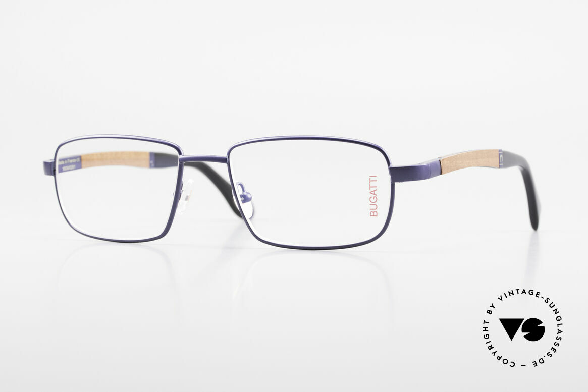 Bugatti 548 Pure Wood Frame Blue Navy M, BUGATTI vintage eyeglasses of incredible top-quality, Made for Men