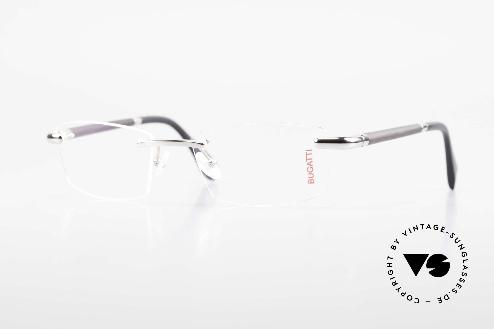 Bugatti 545 White Gold And Genuine Horn, rimless eyeglasses by BUGATTI, TOP-NOTCH quality, Made for Men
